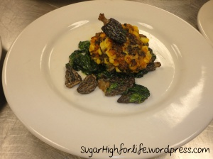Corn and Wild Rice Cakes topped with Morel Mushrooms and Spinach