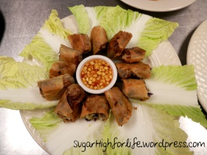 Crispy Spring Rolls with a Spicy Pineapple Sauce